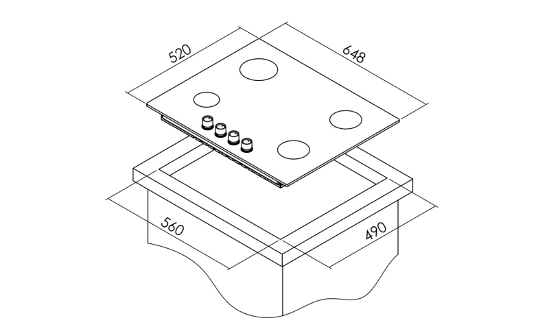 Simfer 3650 4G 65 Cm Siyah Ankastre Cam Ocak