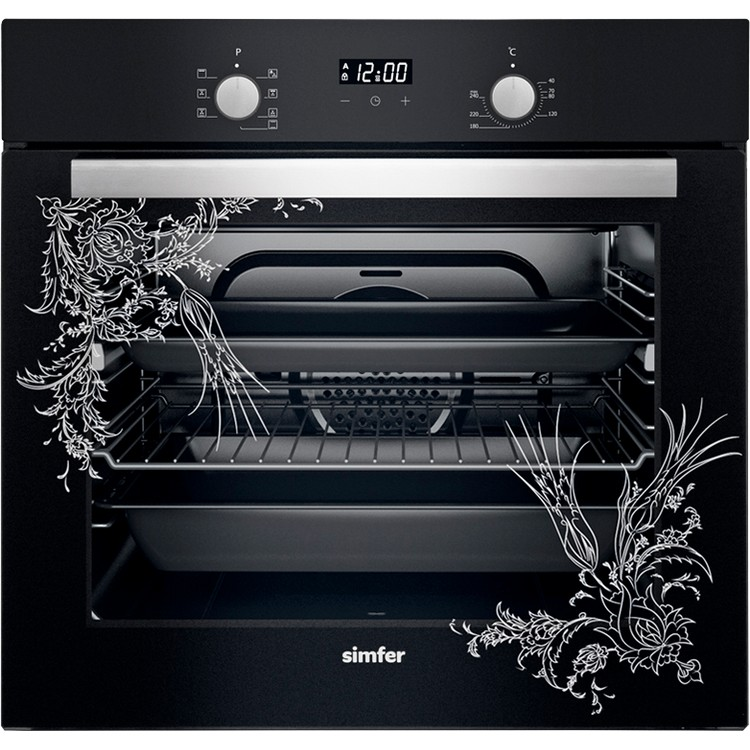 SİMFER - Simfer 7320 Tezhip Desenli Siyah Ankastre Fırın