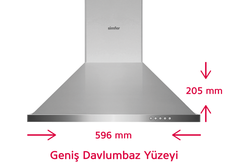 Simfer 8662 60 cm İnox Piramit Davlumbaz (Push Buton) - Thumbnail