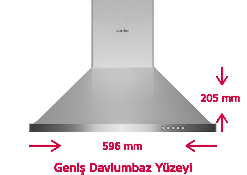 Simfer 8662 60 cm İnox Piramit Davlumbaz (Push Buton)