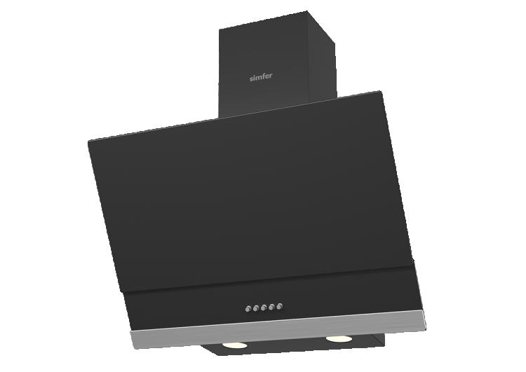 Simfer 9603 60 cm Siyah Eğik Cam Push Buton Davlumbaz - Thumbnail