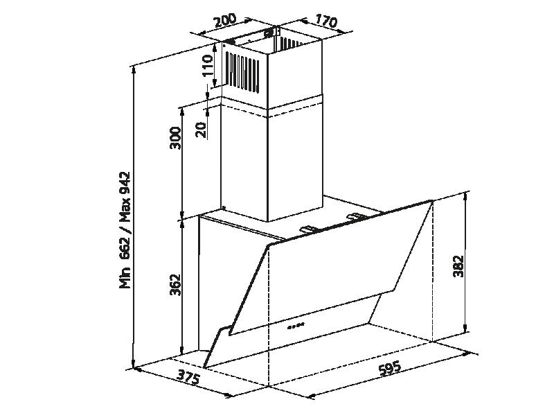 Simfer 9603 60 cm Siyah Eğik Cam Push Buton Davlumbaz