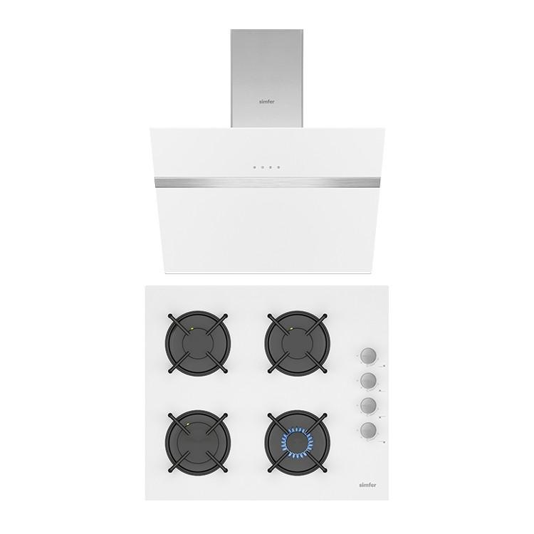 Simfer - Simfer Beyaz Cam 60 cm İkili Ankastre Set (3507 Ankastre Ocak + 8612 Davlumbaz)