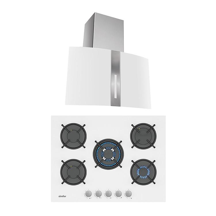 Simfer - Simfer Beyaz Cam 70 cm İkili Ankastre Set (3706 Ankastre Ocak + 8744 Davlumbaz)
