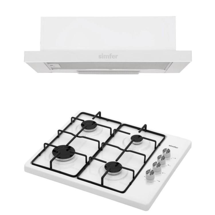 Simfer - Simfer Beyaz Eko İkili Set Üstü Set (8505 Aspiratör + 3010 Set Üstü Ocak)