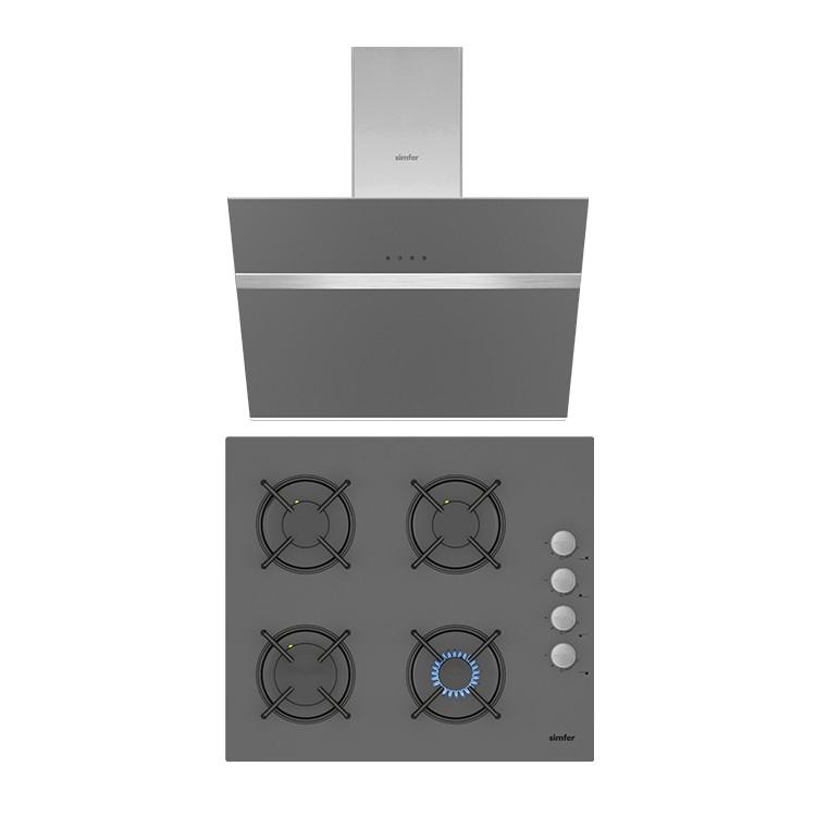 Simfer - Simfer Silver Cam 60 cm İkili Ankastre Set (3537 Ankastre Ocak + 8613 Davlumbaz)