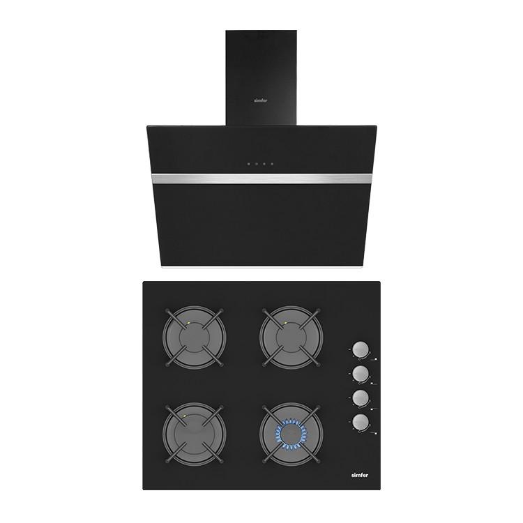 Simfer Siyah Cam 60 cm İkili Ankastre Set (3500 Ankastre Ocak + 8611 Davlumbaz) - Thumbnail