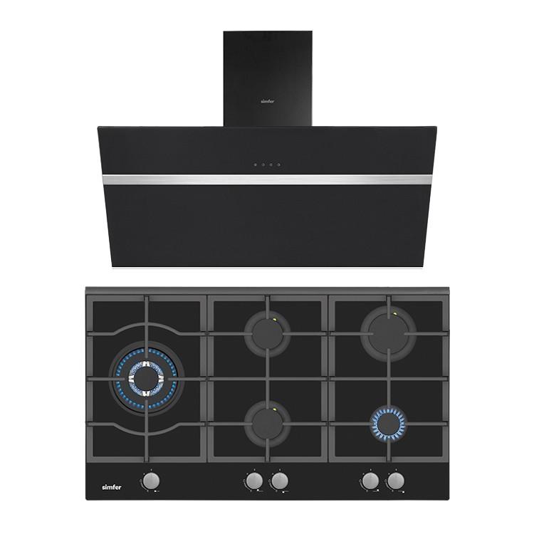 Simfer - Simfer Siyah Cam 90 cm İkili Ankastre Set (3915 Ankastre Ocak + 8911 Davlumbaz)