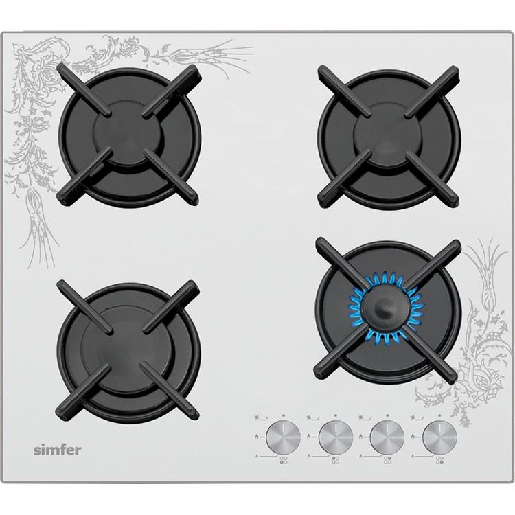 SİMFER - Simfer 3038 N 4G Set Üstü Beyaz Cam Ocak Tezhip Desen