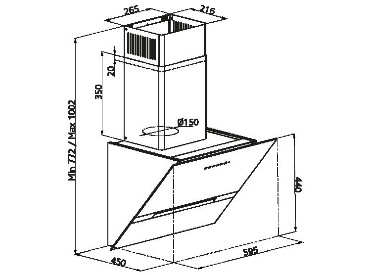 Simfer T8674SM 60 cm Kum Beji Eğik Cam Davlumbaz - Thumbnail