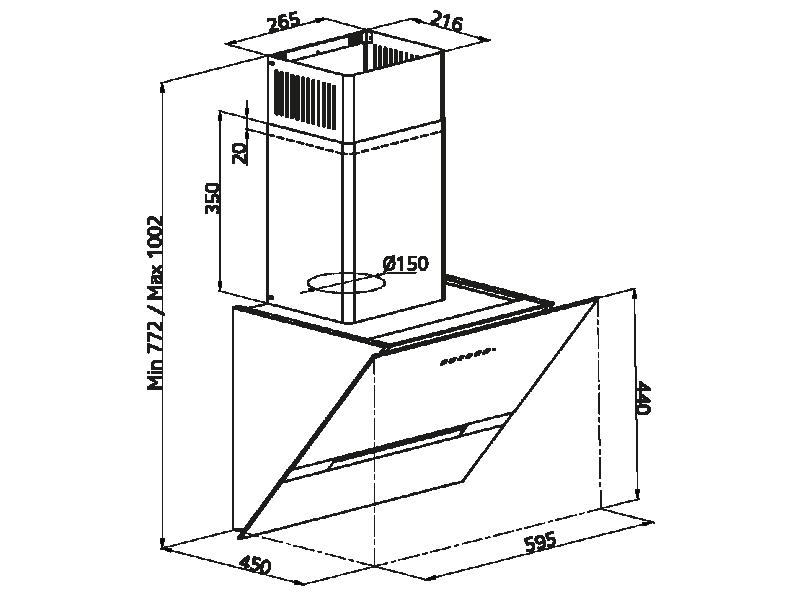Simfer T8674SM 60 cm Kum Beji Eğik Cam Davlumbaz